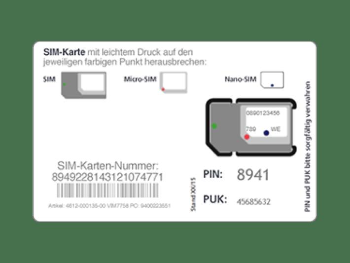 Blau SIM-Karte: Nano-, Micro- und Standard SIM-Karte in Einem