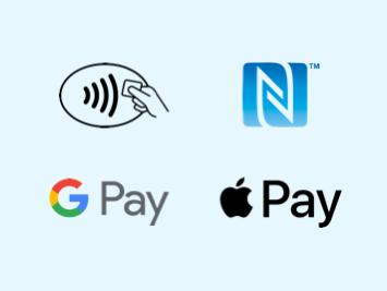Bei diesen Symbolen ist kontaktloses Bezahlen möglich.